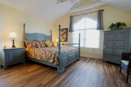 Large master bedroom with King size bed.